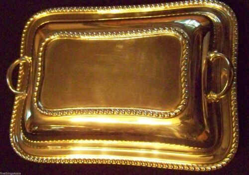 SHEFFIELD ENGLISH GADROON STYLE SILVER DOUBLE ENTREE COVERED SERVER SERVING TRAY