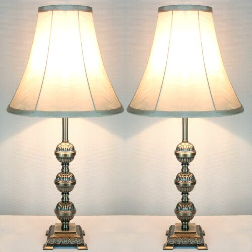 PAIR  of Traditional Antique Style Table Bedside LAMPS   limited stock