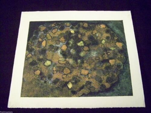 SUPERB MOD 1950's or '60s COLLECTIBLE ABSTRACT ART PRINT -Artist Signed Original