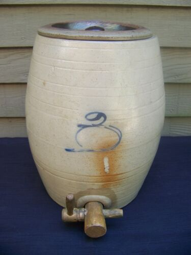 Blue Decorated Stoneware 3 Gallon WATER COOLER - RED WING?