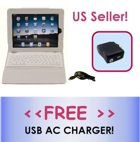 WHITE Wireless Bluetooth Keyboard Leather Case for iPad 3/2/1 *FREE A/C CHARGER*