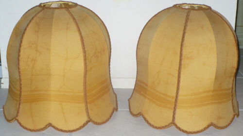 TWO ANTIQUE LAMP SHADES SILK ? VICTORIAN ?
