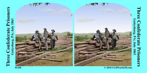 Three Confederate Prisoners Civil War SV Stereoview Stereocard 3D 01450