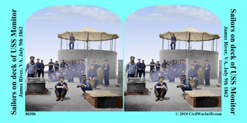 Sailors on Deck of USS Monitor Civil War SV Stereoview Stereocard 3D 00306