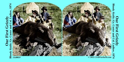 General Custer Grizzly Bear Civil War SV Stereoview Stereocard 3D 3A48019