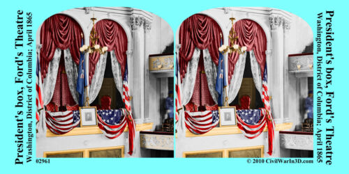 President Box Ford's Theatre Lincoln Civil War SV Stereoview Stereocard 3D 02961