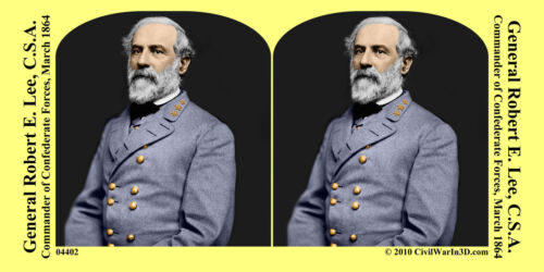 General Robert E. Lee Confederate Civil War SV Stereoview Stereocard 3D 04402
