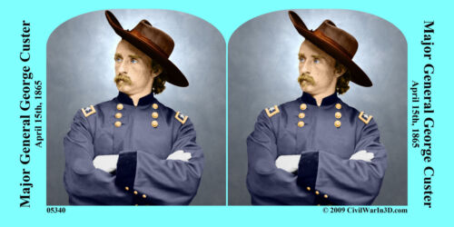 General George Custer Civil War SV Stereoview Stereocard 3D 05340