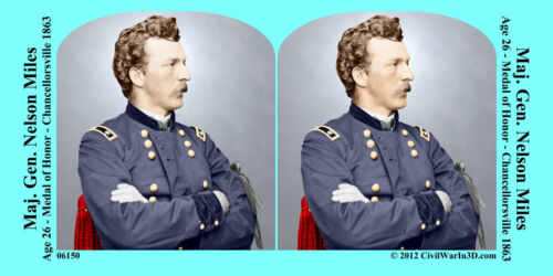 General  Nelson Miles Medal of Honor Civil War SV Stereoview Stereocard 3D 06150