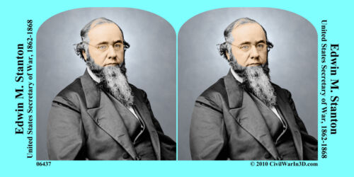 Edwin Stanton Lincoln Cabinet Civil War SV Stereoview Stereocard 3D 06437