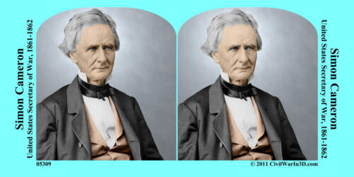 Simon Cameron Lincoln Cabinet Civil War SV Stereoview Stereocard 3D 05309