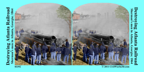 Destroying Atlanta Railroad Soldiers Civil War SV Stereoview Stereocard 3D 03392
