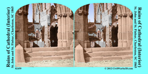 Ruin Cathedral Charleston SC Civil War SV Stereoview Stereocard 3D 02459