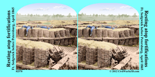 Ft Sedgwick Fortifications Soldiers Civil War SV Stereoview Stereocard 3D 02570
