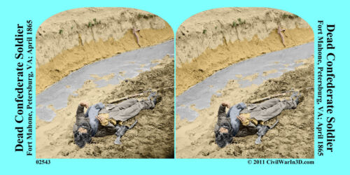 Fort Mahone Dead Soldier Petersburg Civil War SV Stereoview Stereocard 3D 02543