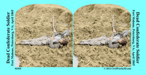 Dead Soldier Fort Mahone Petersburg Civil War SV Stereoview Stereocard 3D 02564