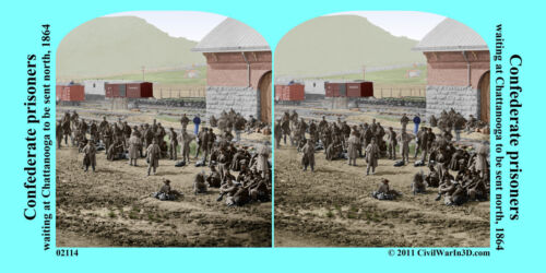 Confederate Prisoners Chattanooga TN Civil War SV Stereoview Stereocard 3D 02114