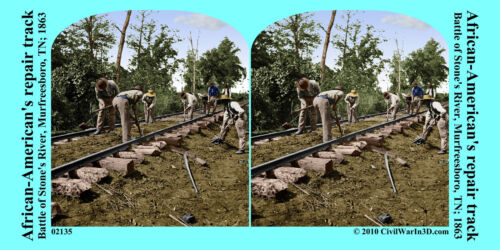 African Americans Railroad Track TN Civil War SV Stereoview Stereocard 3D 02135