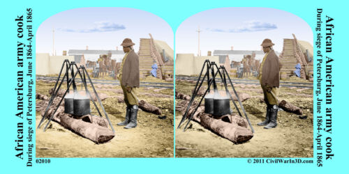 African American cook Petersburg VA Civil War SV Stereoview Stereocard 3D 02010