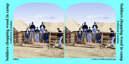 Soldiers Camp Chopping Wood Civil War SV Stereoview Stereocard 3D 02022