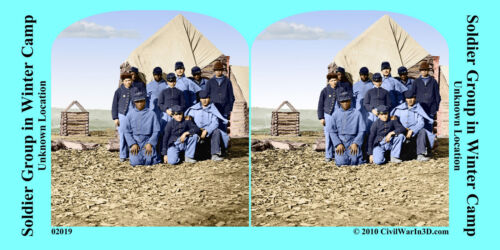 Soldiers Camp African American Civil War SV Stereoview Stereocard 3D 02019