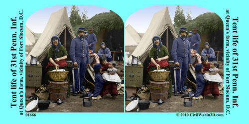 Tent Life 31st PA Fort Slocum Civil War SV Stereoview Stereocard 3D 01666