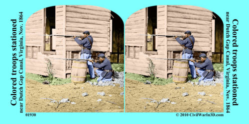USCT soldiers Musket riffle Civil War SV Stereoview Stereocard 3D 01930