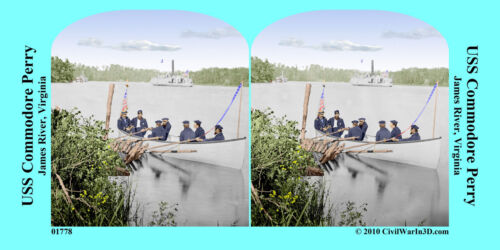 Sailors Landing Party Rowboat Civil War SV Stereoview Stereocard 3D 01778