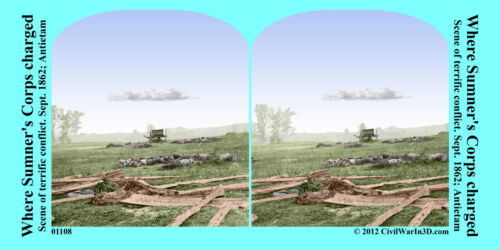 Dead Sumner's Corps Charge Antietam Civil War SV Stereoview Stereocard 3D 01108
