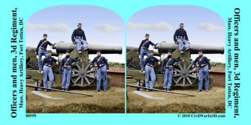 Fort Totten Artillery Cannon Civil War SV Stereoview Stereocard 3D 00559