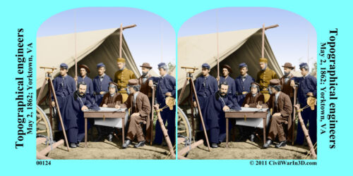 Topographical Engineers Yorktown VA Civil War SV Stereoview Stereocard 3D 00124
