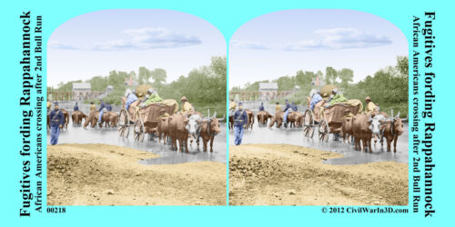 African American Rappahannock Wagons Civil War SV Stereoview Stereocard 3D 00218