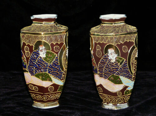 ANTIQUE PAIR JAPANESE PORCELAIN  SATSUMA VASES HALLMARKED HAND PAINTED MORIAGE