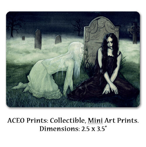 Gothic Fantasy Art ACEO PRINT Ghost Cemetery Spooky Apparition Supernatural