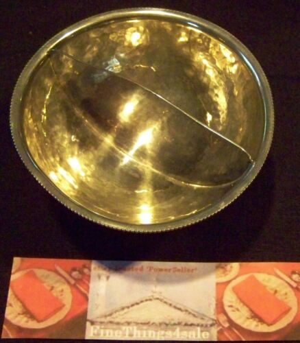 VINTAGE HAND CRAFTED HALLMARKED FOOTED SERVING DIVIDED SAUCE / CONDIMENT BOWL