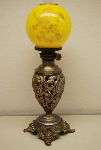 ANTIQUE OLD OIL KEROSENE GWTW MINIATURE GONE WITH THE WIND VICTORIAN LION LAMP