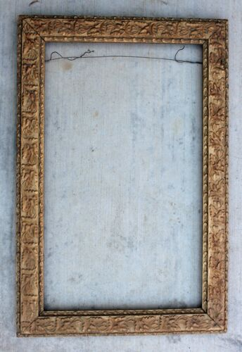 """Antique Beautiful Gold Gilt Gesso Picture Frame 20 3/8"""" x 12.25"""" Image Site"""