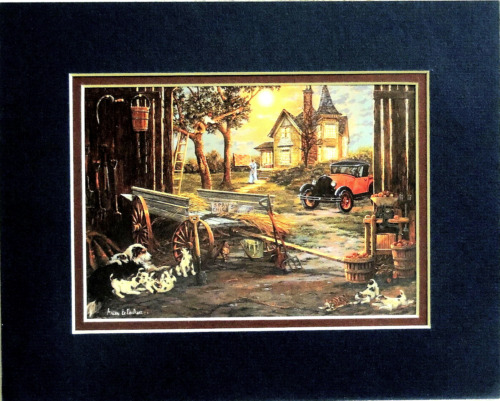 OLD FARMHOUSE PICTURE BARN DOGS OLD CAR APPLES MATTED PRINT UNFRAMED 8X10