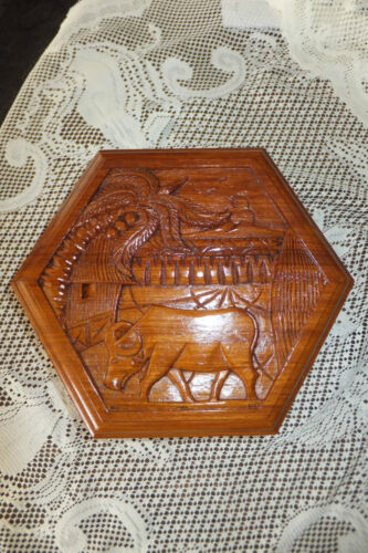 Old Wooden Carved Jewelry Box, Water Buffalo