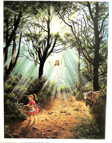 GUARDIAN ANGEL PICTURE GIRL BEAR RELIGIOUS CRYSTAL SKELLY ART PRINT 13X17