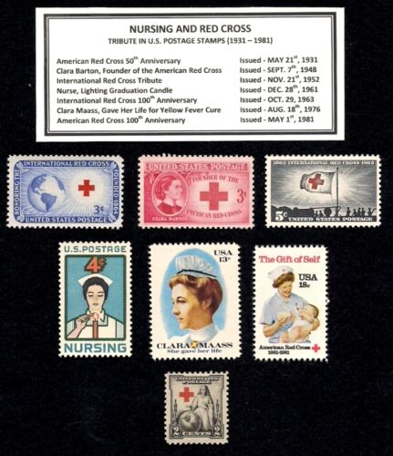 1931 - 1981 NURSING and RED CROSS  Complete Vintage Mint U.S. Stamp Set