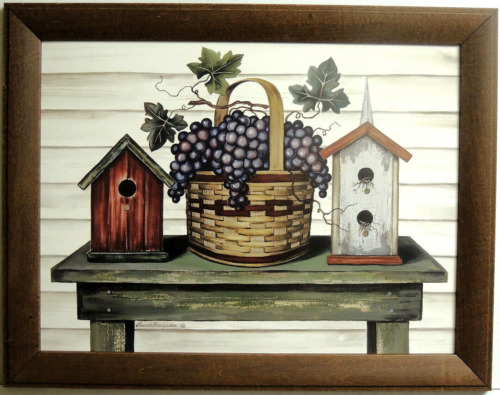 BIRDHOUSES PICTURE COUNTRY  BASKET GRAPES  LAURIE KORSGAD FRAMED PRINT 12X16