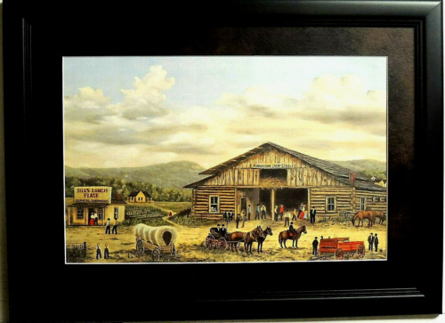 LIVERY STABLE PICTURE WESTERN COWBOY COVERED WAGON  AMISH FRAMED MATTED 14X20