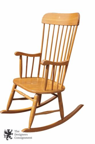 Large 9 Spindle Sheraton Style Ash Rocking Chair Turned Legs & Curved Arms Ships
