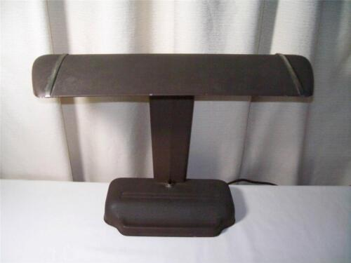 Art Deco Gray Industrial Metal Desk Lamp Bankers Lamp 100% Original Crackle Fin.