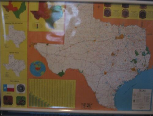 TEXAS, WORLD, AND UNITED STATES MAP by CRAM, 3-layer laminated map, NEW 66 x 48