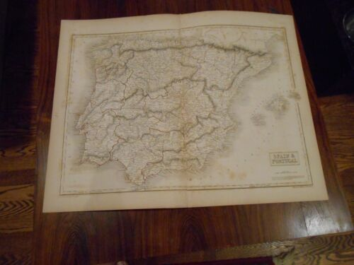 Nice, large hand colored outlines map Spain and Portugal circa 1850