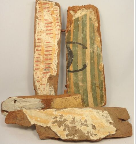 4 PIECES OF EGYPTIAN WOOD FROM SARCOPHAGI, LATE PERIOD, 664 - 30 B.C.