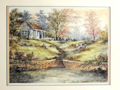 COUNTRY COTTAGE HOUSE PICTURE RESTING BY THE STAIRS ART PRINT 16X20