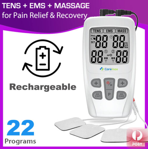 Dual Channel TENS Machine EMS 3 in 1 Combo Unit Pain Relief Massager Physio C4C <br/> ✯Built-in Battery✯2 Ind Channels✯22 Modes✯1 YR Warranty